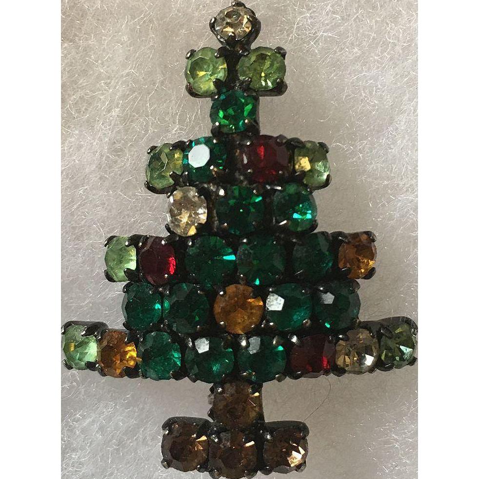 Rhinestone Christmas Tree Pin Book Piece
