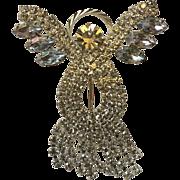 Aurora Borealis Rhinestone Angel Pin