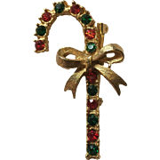 Christmas Gold Tone Candy Cane Rhinestone Pin