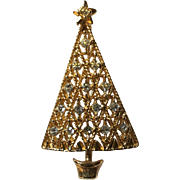 Gold Tone Rhinestone Christmas Tree Pin