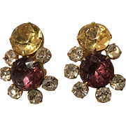 Beautiful Rhinestone Hobe Clip Earrings