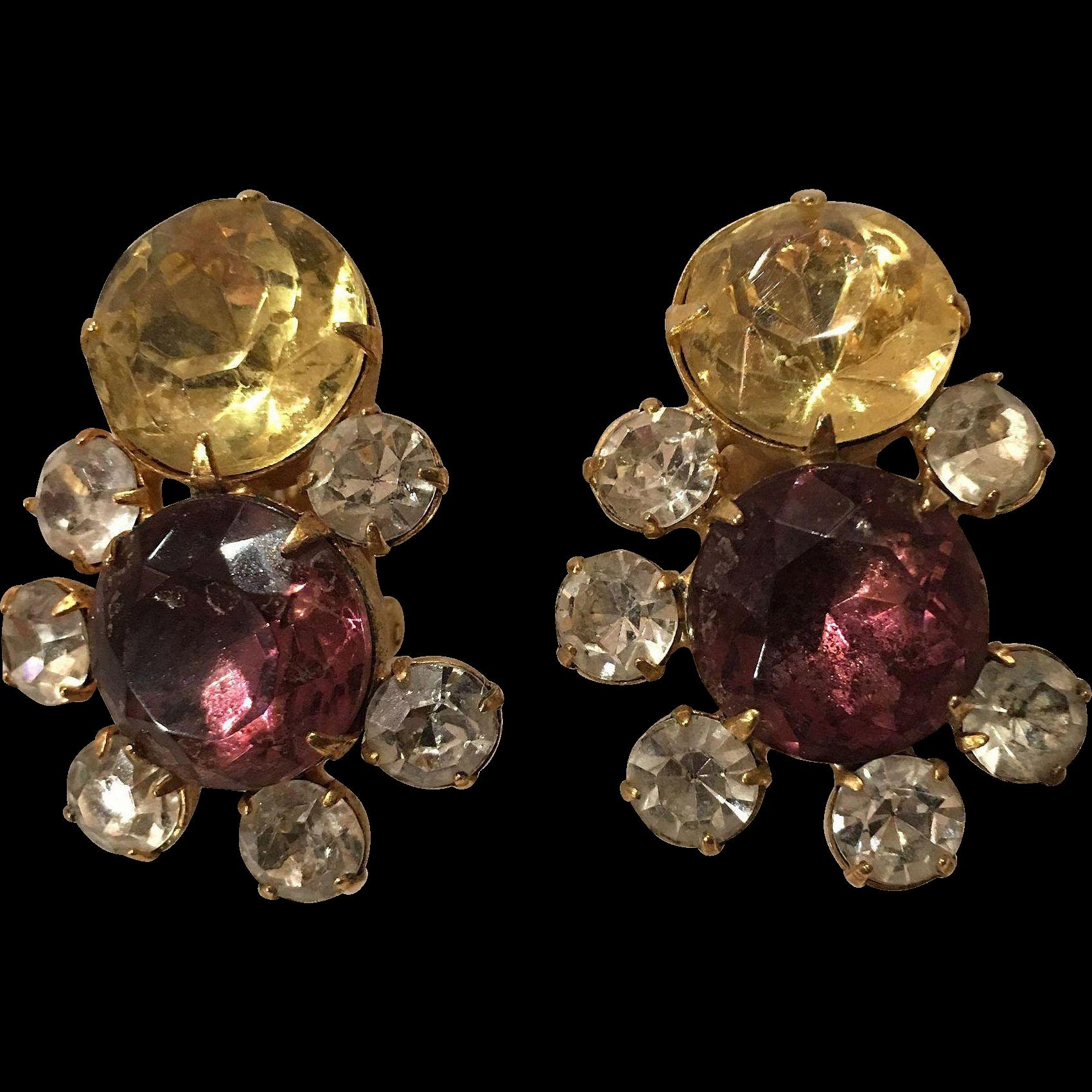 Beautiful Rhinestone Hobe Clip Earrings