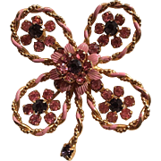 Beautiful Purple and Pink Rhinestone Flower Pin