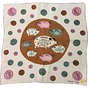 Designer Tammis Keefe Piggy Banks Hankie With Kimball Label Book Piece