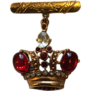 Figural Rhinestone and Red Glass Crown Pin