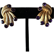 Trifari Purple Rhinestone Clip Earrings