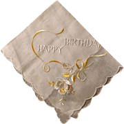 Happy Birthday Scalloped Cotton Hankie