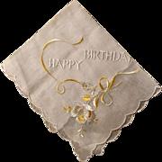 Happy Birthday Scalloped Cotton Hankie