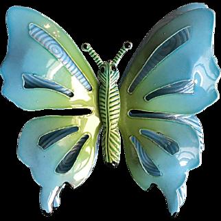 Large Enamel Metal Butterfly Pin