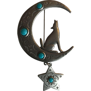 Jonette JJ Southwestern Coyote Star Moon Pin
