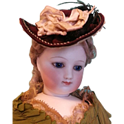 Lovely Burgundy Silk Faille Bonnet for Small Bebe or French Fashion ~ Artist Made