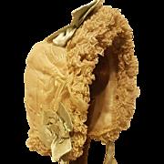 "Stunning Antique Ecru Silk & Lace Bebe Bonnet for 10-11"" Head"