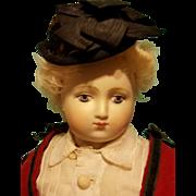 Sweet Antique Brown Velvet Bonnet in the Huret Manner ~ Artist Made