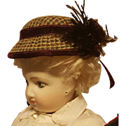 Pretty Wool Boater-Style Bonnet, in the Huret Manner ~ Artist Made