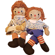Vintage Raggedy Ann and Andy Pair, Well-Loved