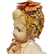 Lovely Straw Replica Bonnet, Artist Made, Vintage & Antique Materials