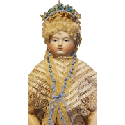 Pretty Straw Fanchon Style Bonnet, Antique Replica, Artist Made