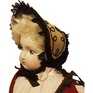 Lovely Huret Fanchon Style Straw Bonnet with Black Accents ~ Artist Made