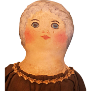 Wonderful Antique Folk Art Oil-painted Cloth Doll, Wonderful Condition