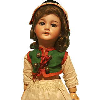 "Darling 14"" SFBJ 301 Bisque  Head Doll in Provincial Costume!"
