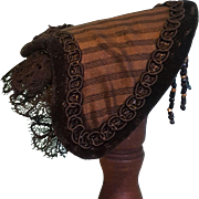 Lovely Huret Fanchon Style Straw Bonnet with Black Beaded Fringe ~ Artist Made - Red Tag Sale Item