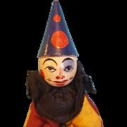 Wonderful Vintage Wooden Clown, Hand-Painted,