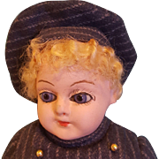 Sweet Papier Mache Boy with Glass Eyes & Wool Striped Suit!