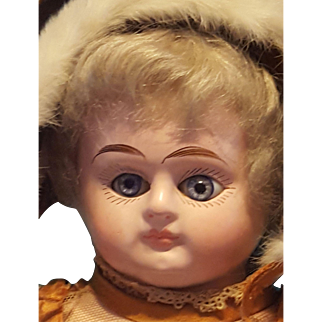 Lovely Papier Mache Antique Doll, Original Dress