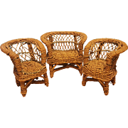 3 Piece Set of Rattan Doll Furniture