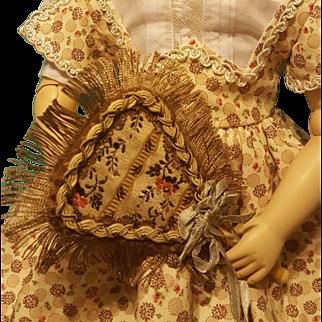Pretty Antique Silk Brocade Fan for French Fashion ~ Artist-Made