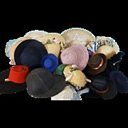 Large Lot of Vintage Doll Hats