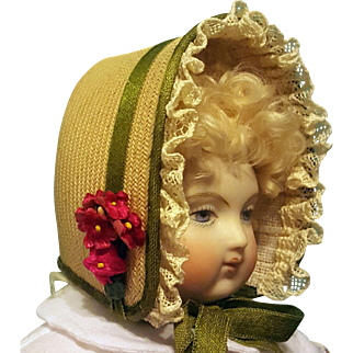 Pretty Spring Bonnet for French Fashion or Small Bebe ~ Artist-Made