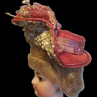 Gorgeous & Dramatic Pink Silk  French Fashion Bonnet ~ Artist-Made