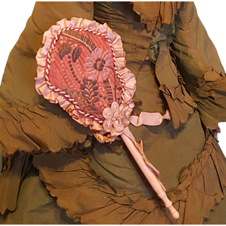 Divine Antique Embroidered Silk French Fashion Fan ~ Artist Made
