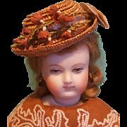 French Fashion Bonnet, Antique Straw, Artist-Made