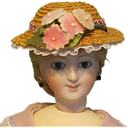 "Straw Boater for 5-6"" Doll Head ~ Artist-Made, Avant-Garde!"