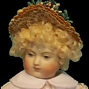 """Straw Bonnet for 6"""" Doll Head ~ Artist-Made, Avant-Garde!"""