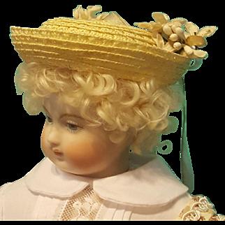 """Straw Bonnet for 6.5-7"""" Doll Head ~ Artist-Made, Huret Style, Avant-Garde!"""
