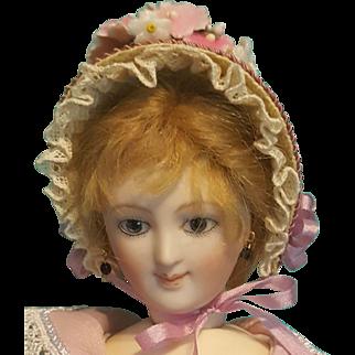 "Straw Spoon Bonnet for 5-5.5"" Doll Head ~ Artist-Made, Avant-Garde!"