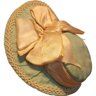 "Pale Aqua Antique Silk Bebe Bonnet ~ Artist-Made, for 7-7.5""  Head"