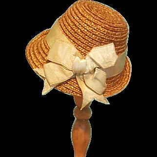 """Straw Bonnet for 5-5.5"""" Doll Head ~ Artist-Made, Avant-Garde!"""