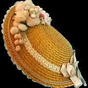 """Straw Bonnet for 8-8.5"""" Doll Head ~ Artist-Made, Avant-Garde!"""