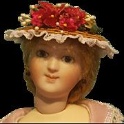 "Straw Boater for 5-6"" Doll Head ~ Artist-Made, Avant-Garde!"