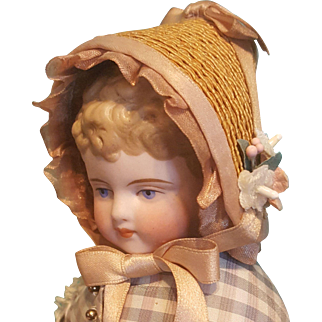 "Vintage Straw Bonnet for 5.5-6"" Head ~ Artist-Made"