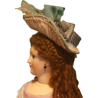 """Antique Silk Bonnet for Small French Fashion or Bebe, 5-6"""" Head ~ Artist-Made"""