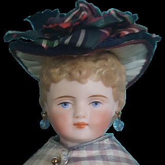 "French Fashion Bonnet, Antique Materials, Artist-Made, 5-6"" Head"