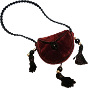"""Tiny Velvet Purse For French Fashion, 10-12"""" Doll ~ Artist-Made"""
