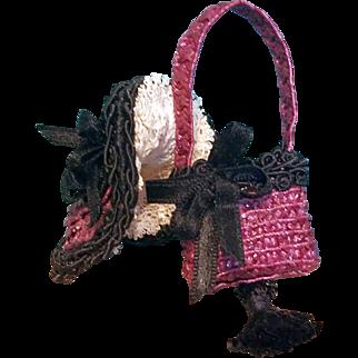 """Bonnet & Purse for 6"""" Mignonette ~ Artist-Made, Cherie's Petite Boutique"""