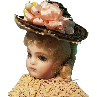 Tiniest Straw Bonnet for Small Mignonette ~ Artist-Made, Cherie's Petite Boutique