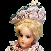 """Bonnet for Mignonette, 4-5"""" Head ~ Artist-Made, Cherie's Petite Boutique"""
